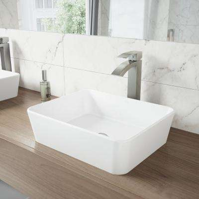 Marigold White Matte Stone Vessel Bathroom Sink and Duris Bathroom Vessel Faucet in Brushed Nickel