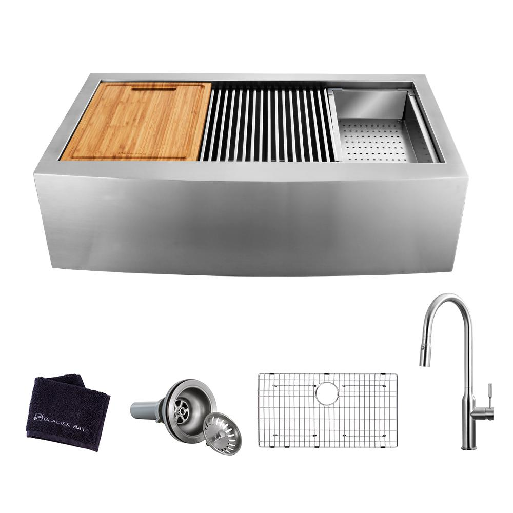 Glacier Bay All-in-One Apron-Front Farmhouse Stainless Steel 36 in. Single Bowl Workstation Sink with Faucet and Accessories