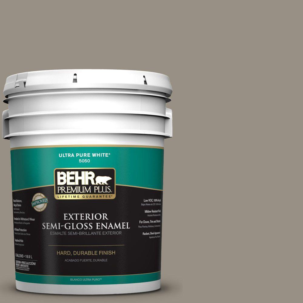 BEHR Premium Plus 5-gal. #N320-5 Gray Squirrel Semi-Gloss Enamel Exterior Paint