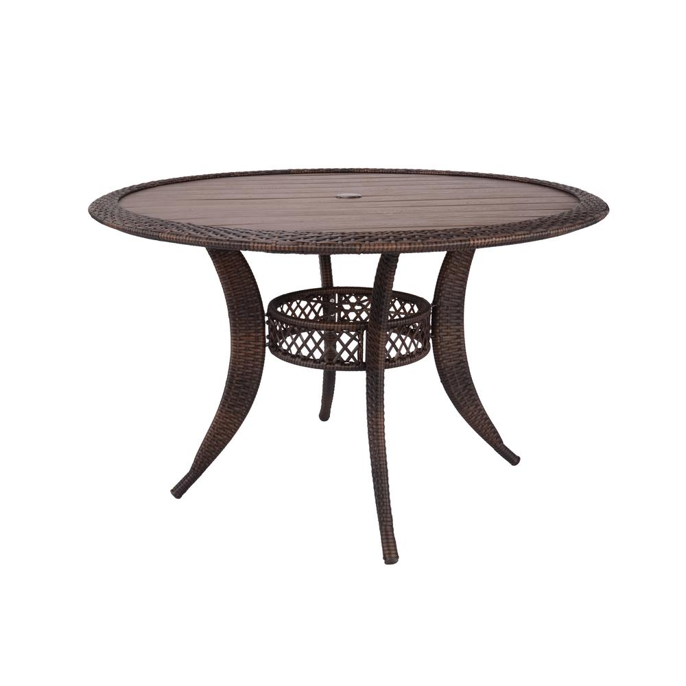 Hampton Bay Cambridge Brown Round Resin Wicker Outdoor Dining Table With Faux Wood Top