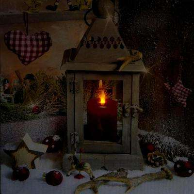 11.75 in. x 12 in. LED Lighted Country Lantern Christmas Canvas Wall Art