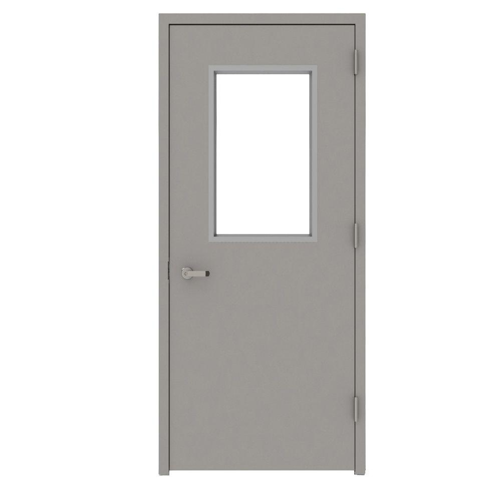 L.I.F Industries 36 in. x 84 in. Gray Vision 1/2-Lite Left-Hand Steel Prehung Commercial Door with Welded Frame