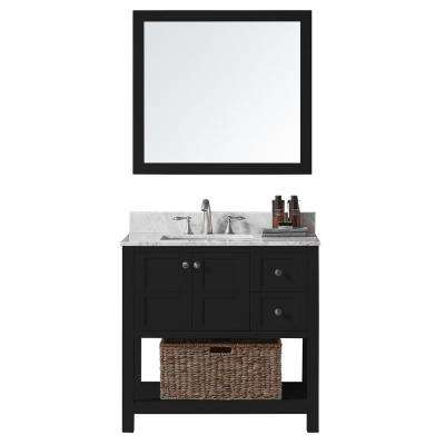 36 in. W x 22 in. D x 34.2 in. H Bath Vanity in Espresso with Marble Vanity Top in White with White Basin and Mirror