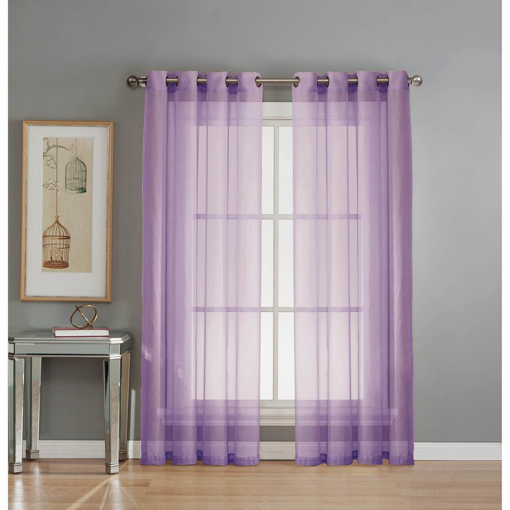 Sheer Sheer Elegance 84 in. L Grommet Curtain Panel Pair, Lilac (Set of 2)