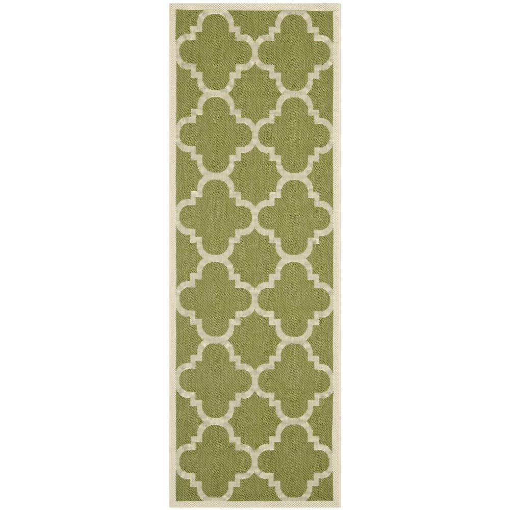 Courtyard Green/Beige 2 ft. 3 in. x 12 ft. Indoor/Outdoor Runner