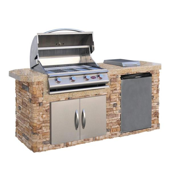 Cal Flame 7 Ft Stone Veneer Grill Island With 4 Burner Gas Grill In Stainless Steel Lbk 701 As The Home Depot