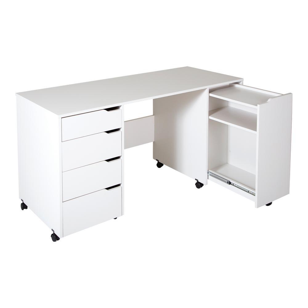 Crea Contemporary Pure White Sewing and Craft Desk