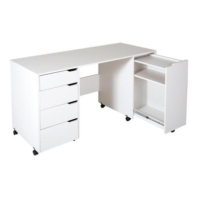 58.12 in. Pure White Rectangular 4 -Drawer Writing Desk with Casters