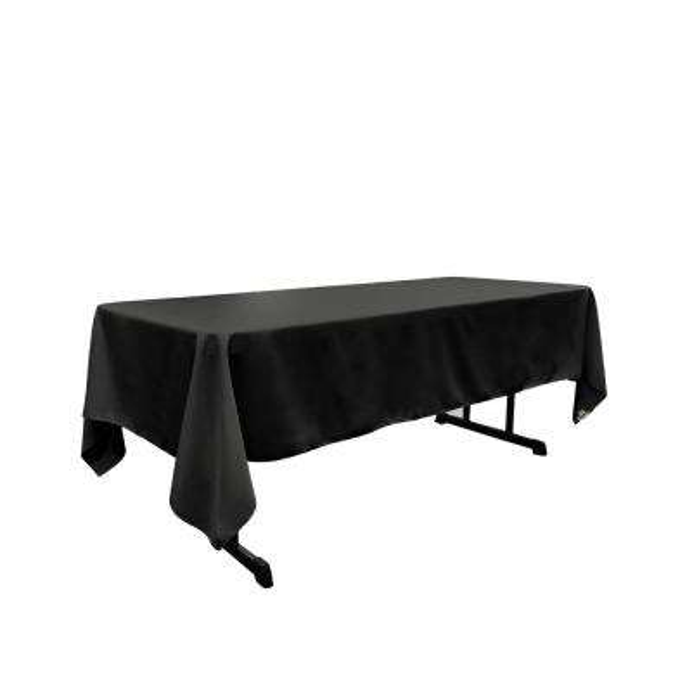 60 x 102 in. Black Polyester Poplin Rectangular Tablecloth