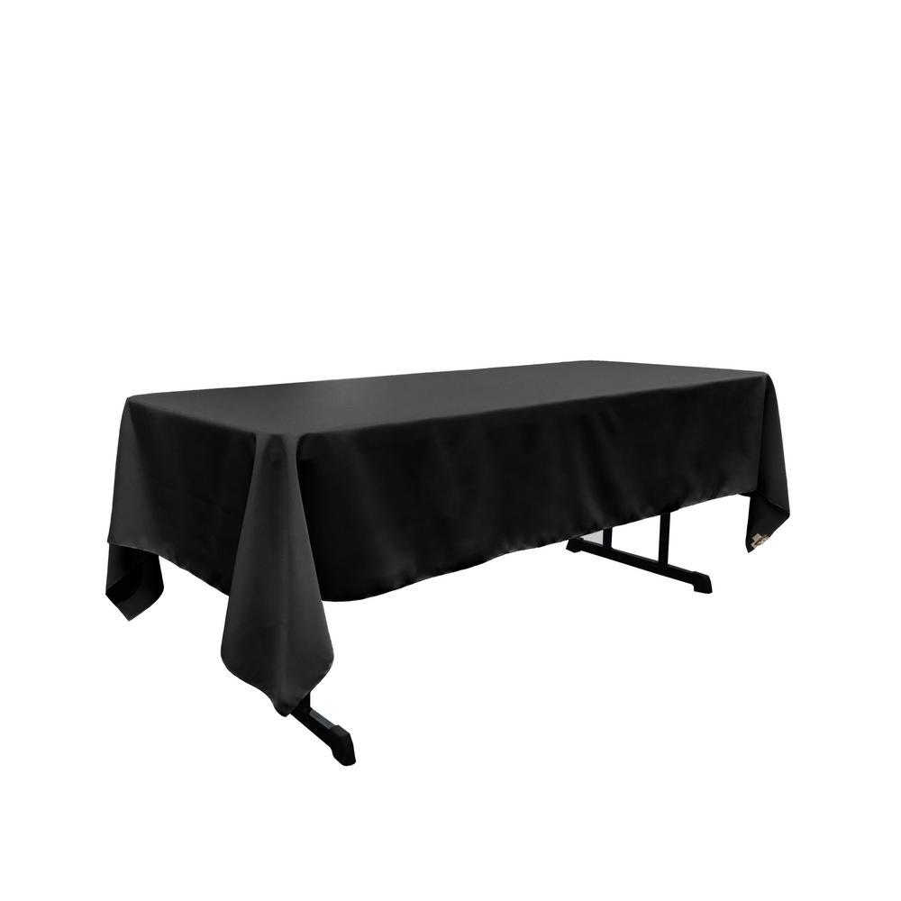 LA Linen 60 x 102 in. Black Polyester Poplin Rectangular Tablecloth
