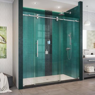 Enigma-XO 68 to 72 in. W x 76 in. H Fully Frameless Sliding Shower Door in Brushed Stainless Steel