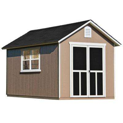 Installed Meridian Deluxe 8 ft. x 12 ft. Wood Storage Shed with Upgrades and Black Onyx Shingles