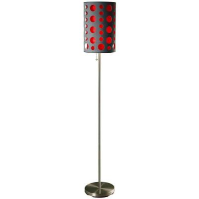 62 in. Grey and Red Stainless Steel High Modern Retro Floor Lamp