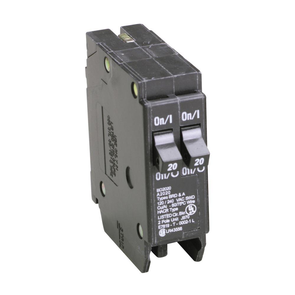 Eaton BD 2-20 Amp Single Pole Tandem CTL Circuit Breaker-BD2020 ...