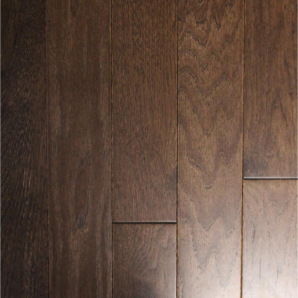 Wire brushed black bison hickory 3 4 in t x 3 1 4 in w x for Dark solid hardwood floors