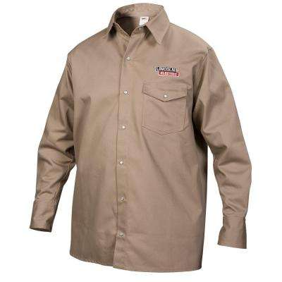 Fire Resistant XX-Large Khaki Cloth Welding Shirt