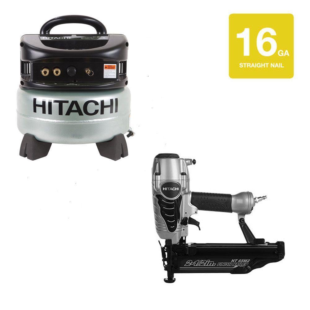 Hitachi 2.5 in. x 16-Gauge Finish Nailer and 6 gal. Oil-Free Pancake Compressor (2-Piece)