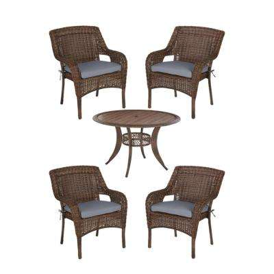 Cambridge Brown 5-Piece Wicker Outdoor Patio Dining Set with CushionGuard Steel Blue Cushions