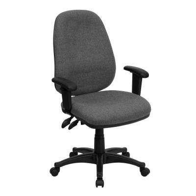 High Back Gray Fabric Executive Ergonomic Swivel Office Chair with Height Adjustable Arms
