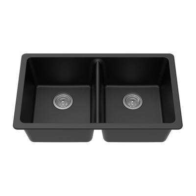 Undermount Granite Composite 33 in. x 18-3/4 in. x 9-1/2 in. Double Equal Bowl Kitchen Sink in Black