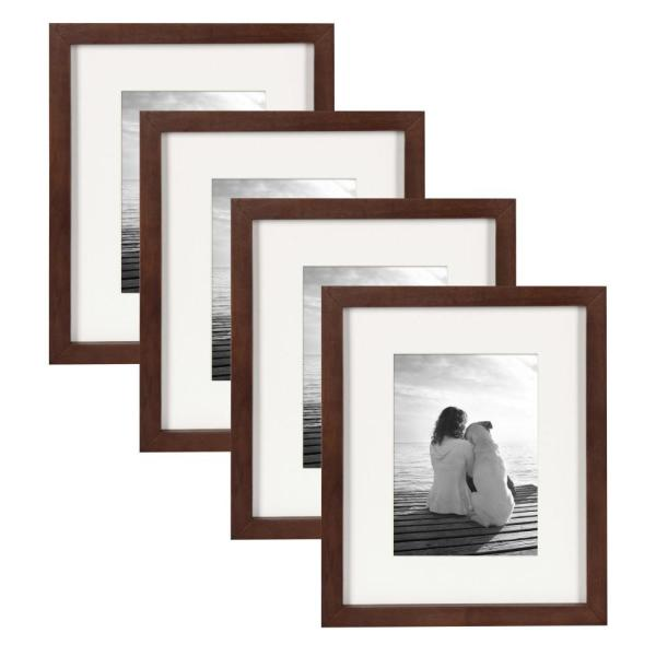 Gallery 8 in. x 10 in. Matted to 5 in. x 7 in. Walnut Brown Picture Frame (Set of 4)