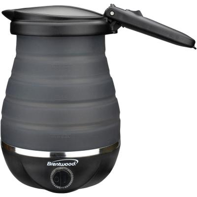 3.4-Cup Black Dual-Voltage Collapsible Travel Kettle