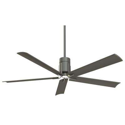 Clean 60 in. Integrated LED Indoor Grey Iron with Brushed Nickel Ceiling Fan with Light with Remote Control