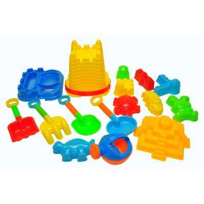 JustForKids Beach Toys For Kids with Reusable Mesh Bag Castle Bucket Sand Mold (16-Piece)
