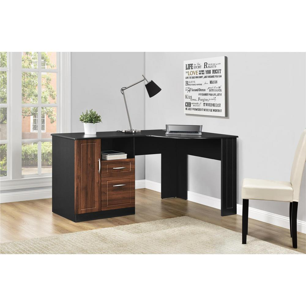 Ameriwood Home Wilson Cherry and Black Desk with Storage ...