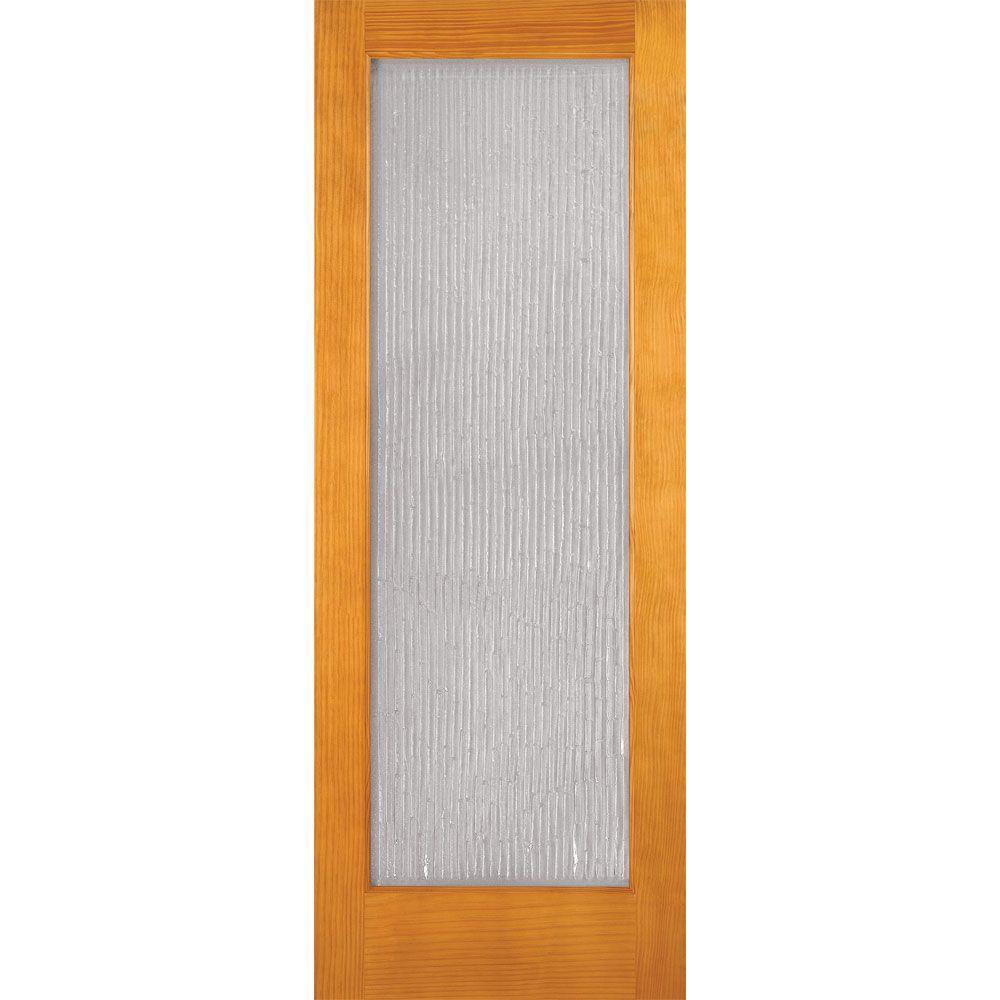 Feather River Doors 30 in. x 80 in. 1 Lite Unfinished Pine Bamboo Casting Woodgrain Interior Door Slab