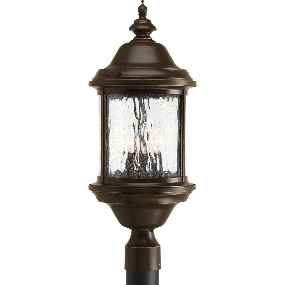 Ashmore Collection 3-Light Antique Bronze Outdoor Post Lantern