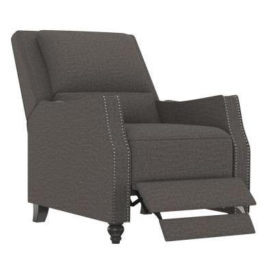 Charcoal Gray Multi-warp Chenille Push Back Recliner Chair with Nailhead Trim