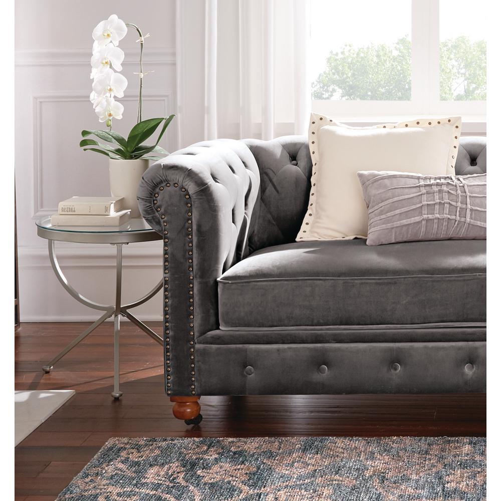 Home Decorators Collection Gordon Grey Velvet Loveseat 0849500120 The Home Depot