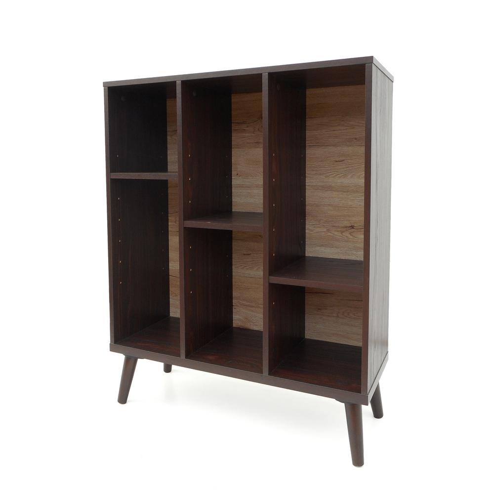 Oak Brown 6-Compartment Bookcase