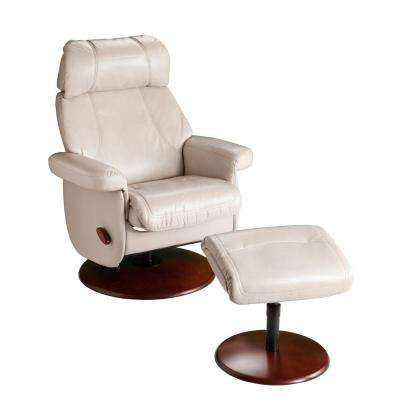 Petersburg Taupe Synthetic Leather Reclining Chair with Ottoman