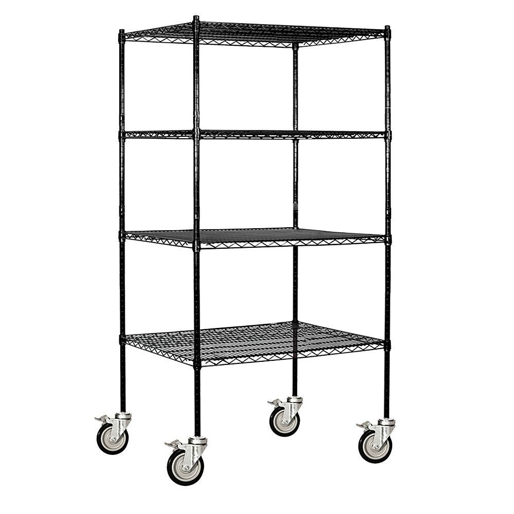 Salsbury Industries 9600M Series 36 in. W x 80 in. H x 24 in. D Industrial Grade Welded Wire Mobile Wire Shelving in Black