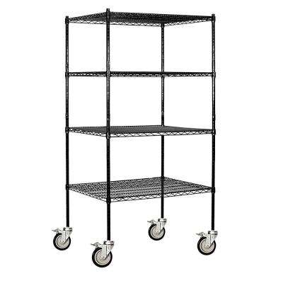 9600M Series 36 in. W x 80 in. H x 24 in. D Industrial Grade Welded Wire Mobile Wire Shelving in Black