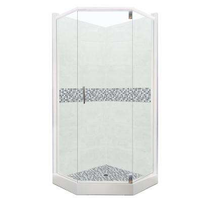 Del Mar Grand Hinged 32 in. x 36 in. x 80 in. Right Cut Neo-Angle Shower Kit in Natural Buff and Chrome Hardware