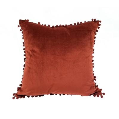 Pompom Merlot Solid Polyester 18 in. x 18 in. Throw Pillow