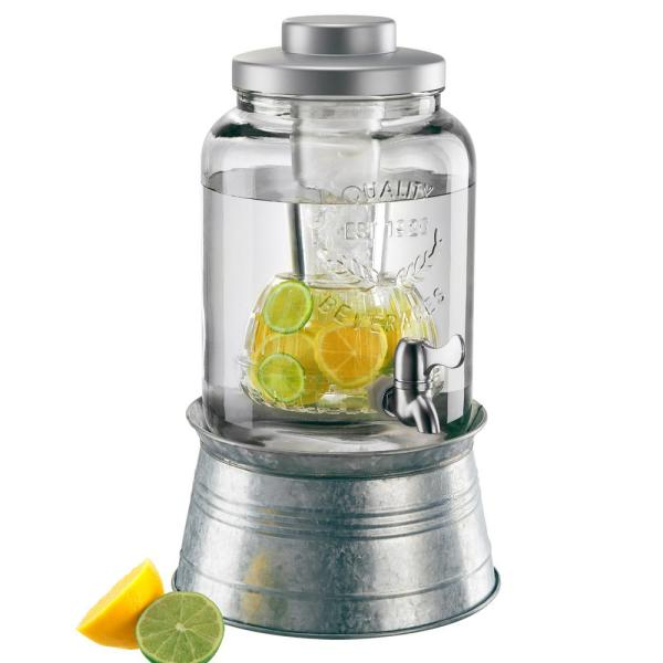 undefined 2 Gal. Masonware Beverage Dispenser with Chiller, Infuser and Galvanized Stand