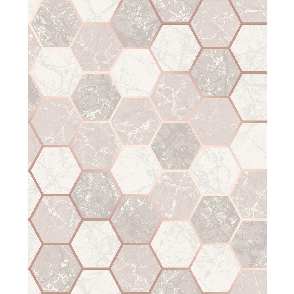 Margaret Rose Gold Marble Hexagon Wallpaper