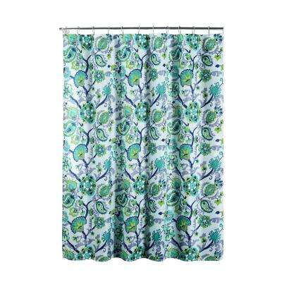 Diamond Weave Textured 70 in. W x 72 in. L Shower Curtain with Metal Roller Rings in Henna Aqua