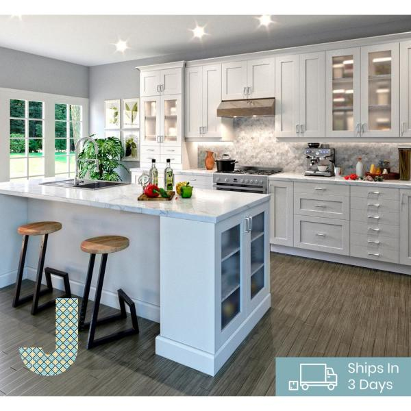 J Collection Shaker Assembled 15x30x14 In Wall Cabinet With Frosted Glass Door In Vanilla White Wg1530 L R Ws The Home Depot