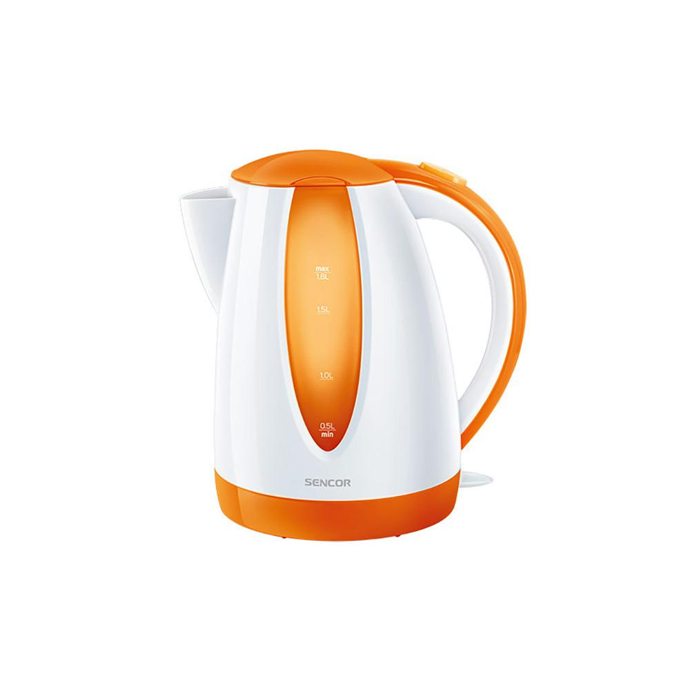 Sencor 7.6-Cup Cordless Orange Electric Kettle with Automatic Shut Off Cordless electric kettles by Sencor heats water twice as fast as stove top, offering better speed, convenience, energy efficiency and safety This electric kettle comes with a 360° swivel and bright finish. Color-coordinate with other kitchen electrics by Sencor to create a beautiful kitchen with European design touch. Color: Orange.