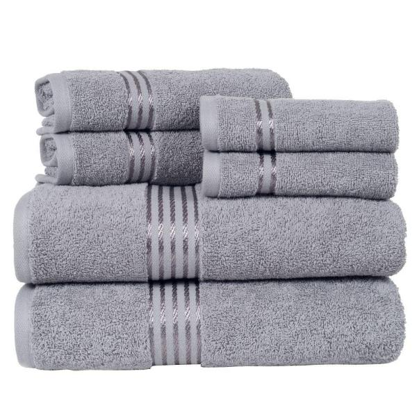 Lavish Home 100% Egyptian Cotton Hotel Towel Set in Silver (6-Piece)