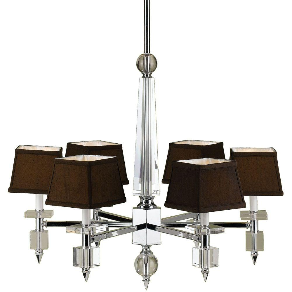 Af lighting cluny 6 light chrome chandelier with crystal accents af lighting cluny 6 light chrome chandelier with crystal accents and chocolate shades 6685 6h the home depot arubaitofo Choice Image