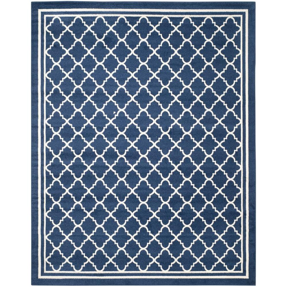 Safavieh Amherst Navy/Beige 9 ft. x 12 ft. Indoor/Outdoor Area Rug ...