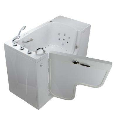 Wheelchair Transfer 52 in. Acrylic Walk-In Whirlpool and Air Bath Bathtub in White, Faucet, Heated Seat, LHS Dual Drain