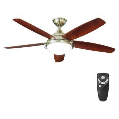 Gramercy 52 in. LED Indoor Brushed Nickel Ceiling Fan with Light Kit and Remote Control