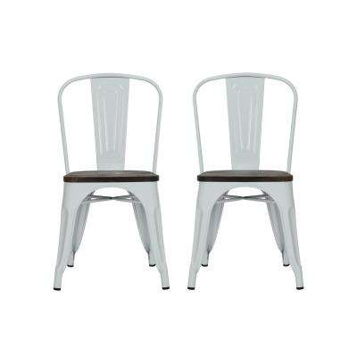 Penelope White Metal Dining Chair with Wood Seat (Set of 2)